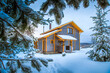 Winter landscape. Cottage on the background of snow-covered fir branches. Wooden house in the countryside. Christmas and New year in cottages. Rent a country house for a large company.
