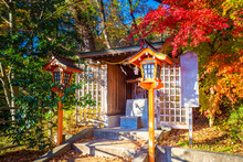 Japan. Kawaguchiko. Autumn In Japan. Japanese Buildings In Kawaguchiko Park. Decorations Of Kawaguchiko Park. Architecture Of Japan. Japanese Motifs. Landscape In Autumn Park.