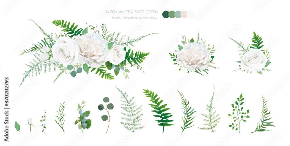 Fototapeta Elegant vector floral bouquet: Ivory white, creamy peony Rose flowers, silver sage Eucalyptus branches, greenery leaves, ferns, green asparagus. Wedding editable watercolor style designer elements set