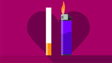 Cigarette And Lighter In Flat Design