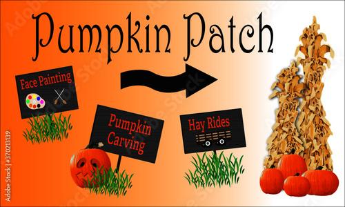 Obraz na plátne Halloween Pumpkin Patch Sign with Corn Stalks, pumpkins, hayride sign with hay t