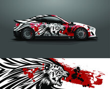 Racing Car Wrap With Tiger Head Illustration