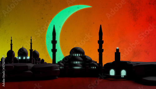 Foto Abstract sunset with various mosques, minarets and half moon