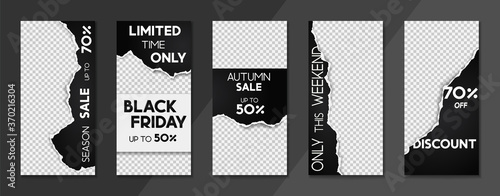 Fototapeta Set of sale, website store banner templates. Banners for online shopping. Editable Instagram Stories template with torn paper. Vector illustrations for posters and newsletter designs, ads obraz