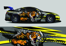 Car Wrap, Decal, Vinyl Sticker Designs Concept. Auto Design Geometric Stripe Tiger Background