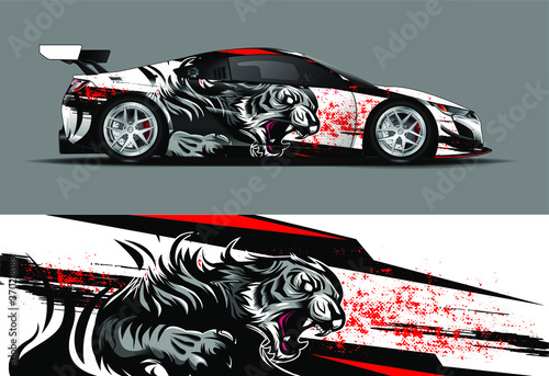 car wrap, decal, vinyl sticker designs concept. auto design geometric stripe tiger background for wrap vehicles, race cars, cargo vans, and livery