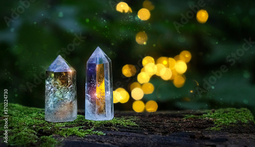 crystal minerals on mysterious nature background Wallpaper Mural