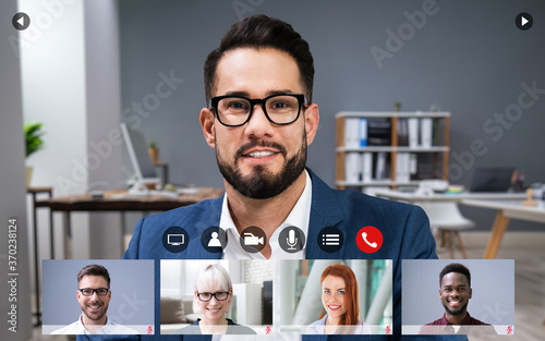 Obraz Online Video Conference Meeting Group Call - fototapety do salonu