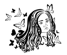 The Face Of A Beautiful Little Girl With Butterflies. Vector Illustration