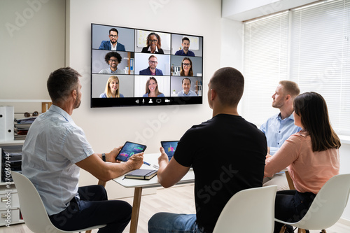 Obraz Online Video Conference Training Business Meeting - fototapety do salonu