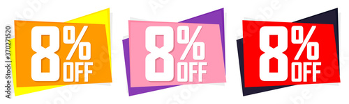 Fototapety, obrazy: Set Sale 8% off banners, discount tags design template, vector illustration