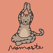 Namaste Tabby Cat Play Yoga Cartoon Vector Illustration