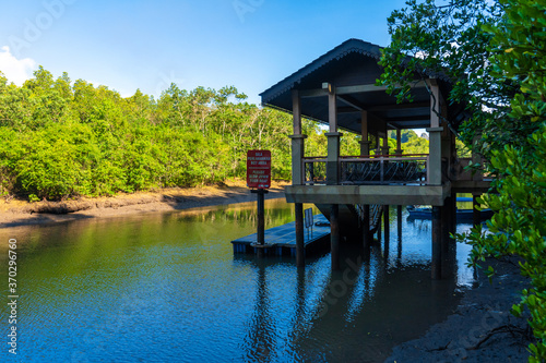 Incredibly beautiful natural landscape, a pier for boats to the river, in a green forest overlooking the mountains Wallpaper Mural