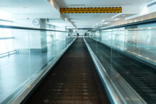 A Travelator In An Empty Airpo...