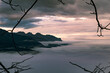 early morning misty cloudy sunrise swiss alps mountains