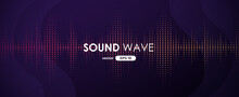 Sound Wave. Digital Music Equalizer. Beautiful Abstract Minimal Background. Simple Modern Style. Purple Neon Color. Pulse Line. Volume. Flat Style Vector Illustration.