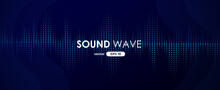 Sound Wave. Digital Music Equalizer. Beautiful Abstract Minimal Background. Simple Modern Style. Blue Neon Color. Pulse Line. Volume. Flat Style Vector Illustration.