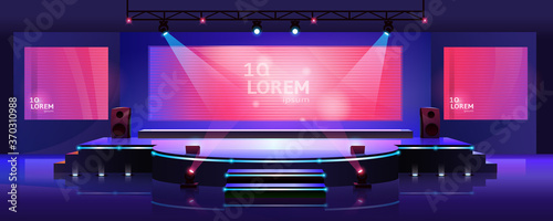 Fotografía Stage of conference hall, presentation and concert scene, vector empty background template