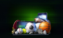 Abstract Concept Of Live Betting On The Outcome Of Sporting Events. 3D Rendered Illustration With Generic Sports Equipment Against Dark Green Background
