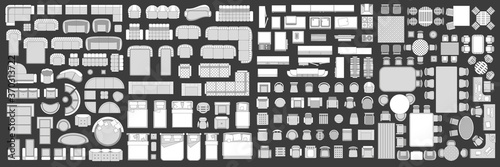 Icons set of interior. Furniture top view. Elements for the floor plan. (view from above). Furniture and elements for living room, bedroom, kitchen, office.