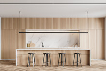 Wooden And Marble Kitchen Interior With Bar