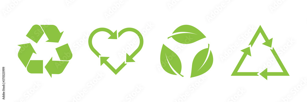 Fototapeta Recycle vector icon set. Arrows, heart and leaf recycle eco green symbol. Rounded angles. Recycled signs illustration isolated on white background.