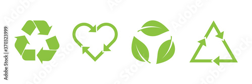 Fototapeta Recycle vector icon set. Arrows, heart and leaf recycle eco green symbol. Rounded angles. Recycled signs illustration isolated on white background. obraz
