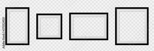 Cuadros en Lienzo Set Realistic empty frames on transparent background