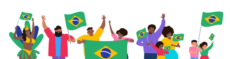 group of happy brazilian people with  flags independence day celebration vector illustration