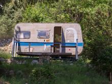 Igrane, Croatia - May 10 2018 : Broken And Abandoned Caravan