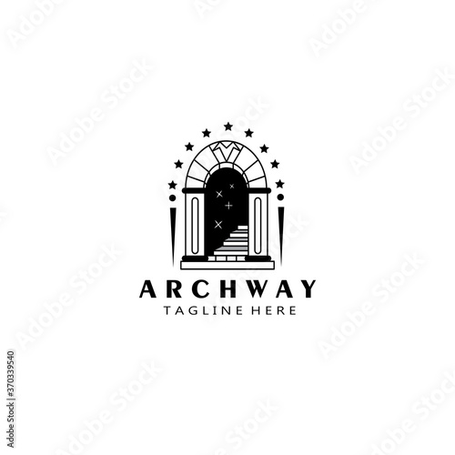 archway, stairs. logo template black design vector Fototapet