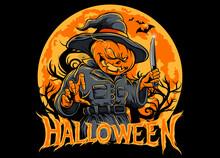 Halloween Pumpkin Scarecrow Ho...