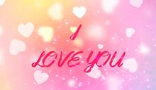 Napis I Love You W Grafice Z Białymi Serduszkami