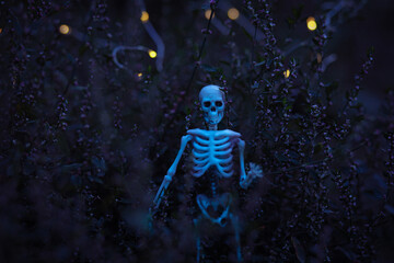 Skeleton Zombie coming out of the woods - Halloween
