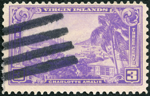 USA - CIRCA 1937: A stamp printed in USA shows Charlotte Amalie, Virgin Islands, Canvas-taulu