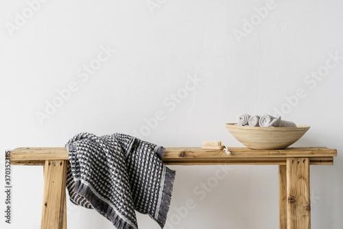 Beauty element in bathroom or spa salon against white copy space background Slika na platnu