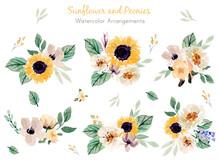 Sunflower And Peonies Watercol...