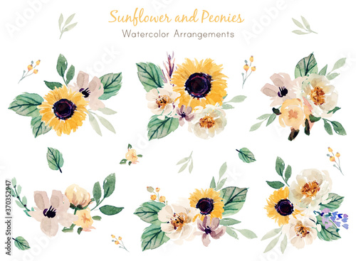 Photo Sunflower and Peonies Watercolor Arrangements