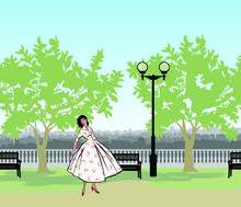 Park Cityscape Skyline. Retro Fashion Dressed Woman (1950s 1960s Style) In City Park Landscape. Stylish Young Lady In Vintage Clothes In Summer City Garden. Summer Fashion From 60s. Urban Life