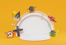 3d Rendering Devil Witch,spider, Owl, Zombie Happy Arround White Label On Yellow Halloween Background.
