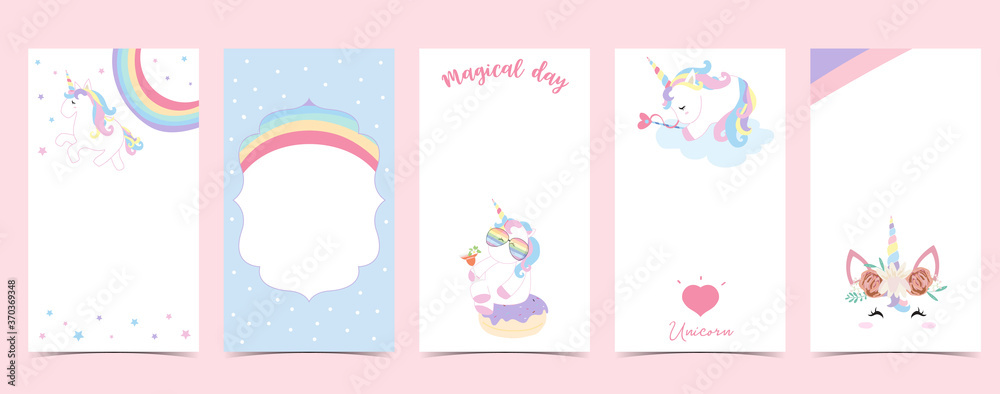 Fototapeta Cute background for social media.Set of instagram story with unicorn,star,rainbow,heart