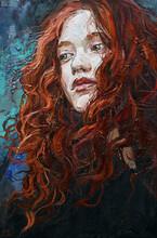 Fiery Red Curly Hair As A Wat...