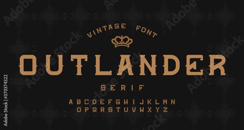 Vintage decorative alphabet serif font Canvas Print