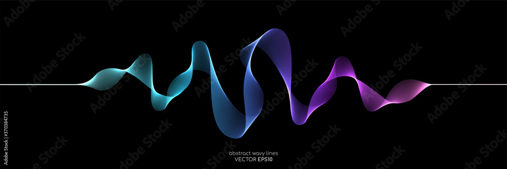 Fototapeta Abstract wave lines dynamic flowing colorful light isolated on black background. Vector illustration design element in concept of music, party, technology, modern.