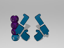 3D Illustration Of GUNS Graphics And Text Around The Icon Made By Metallic Dice Letters For The Related Meanings Of The Concept And Presentations. Army And Background