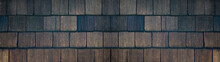 Old Brown Black Dark Rustic Light Bright Wooden Shingles Texture - Wood Background Panorama Banner Long