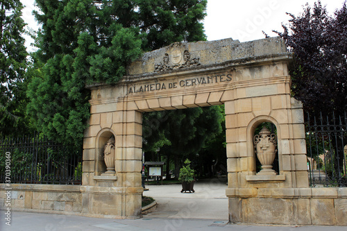 Entrance to the Alameda de Cervantes park in Soria (Spain)