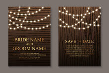 Modern Luxury Wedding Invitation Design Or Card Templates For Birthday Greeting Or Certificate Or Cover With Garlands Of String Lights And Golden Text On A Brown Wood Background.