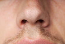 Male Nose With A Long Hair. Bo...