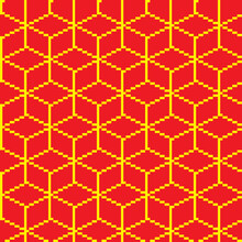 Red And Gold Pattern Background. Vector Texture. Pixel Art Background.